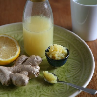 Ingwer Sirup mit Zutaten und Ingerpüree