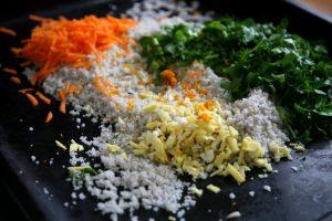 Gewürz-Salz geschnittene Zutaten