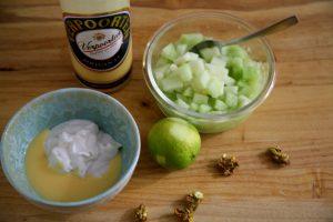 Eierlikör Melonen Dessert Vorbereitung
